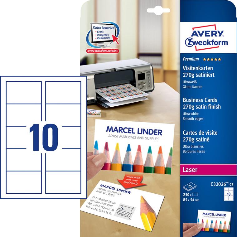 Avery C32026-25 - Visitkort til laser 270g Premium Satin - 250 Visitkort