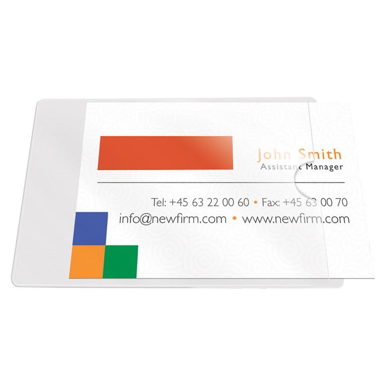 Selvklæbende Visitkortlommer 60 x 95 mm - åben i kort side - 100 stk