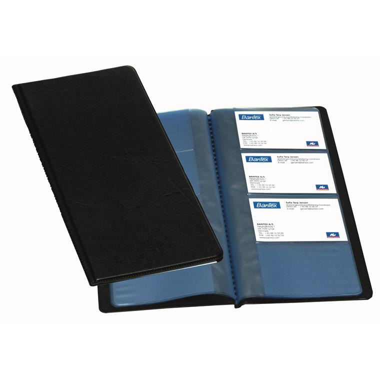 Bantex visitkortmappe sort 13 x 27 cm - til 96 visitkortkort