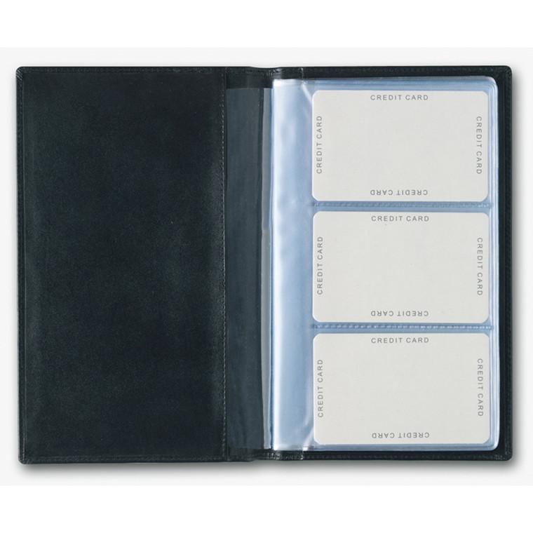 Visitkortmappe til 60 visitkort sort skind 12 x 19 cm Mayland - 369200