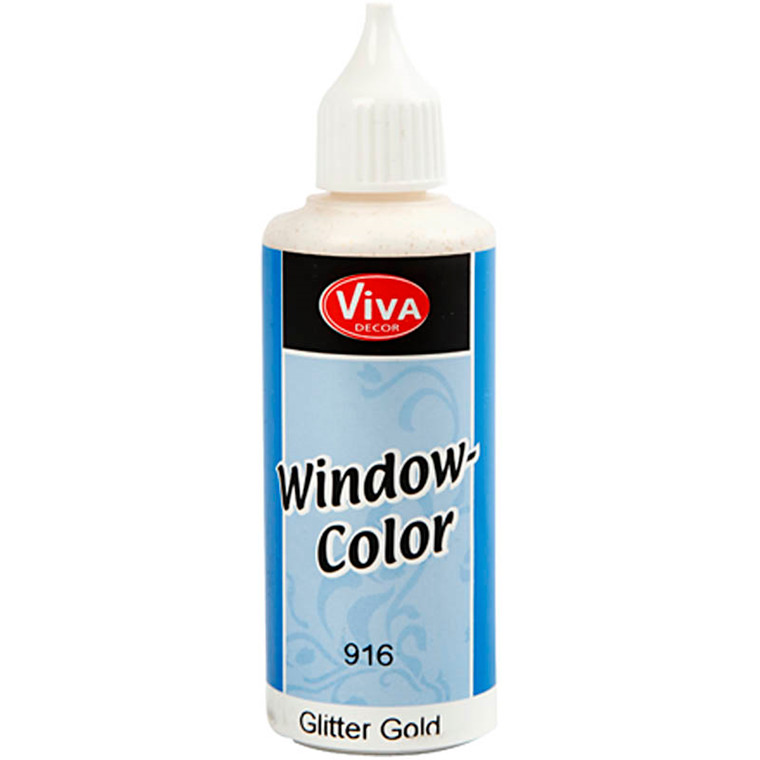 Viva Decor Window Color, guld glitter, 80ml