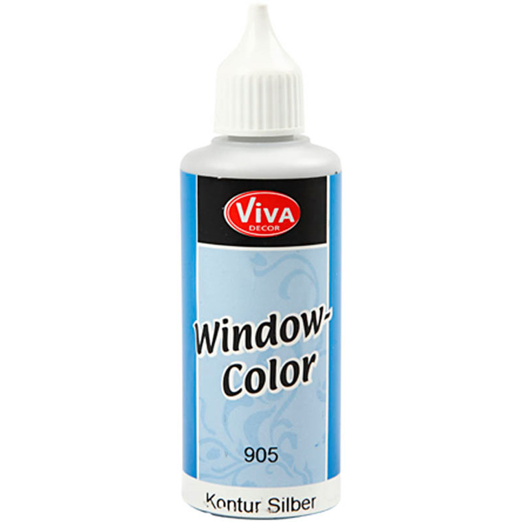 Viva Decor Window Color - konturfarve, sølv, 80ml