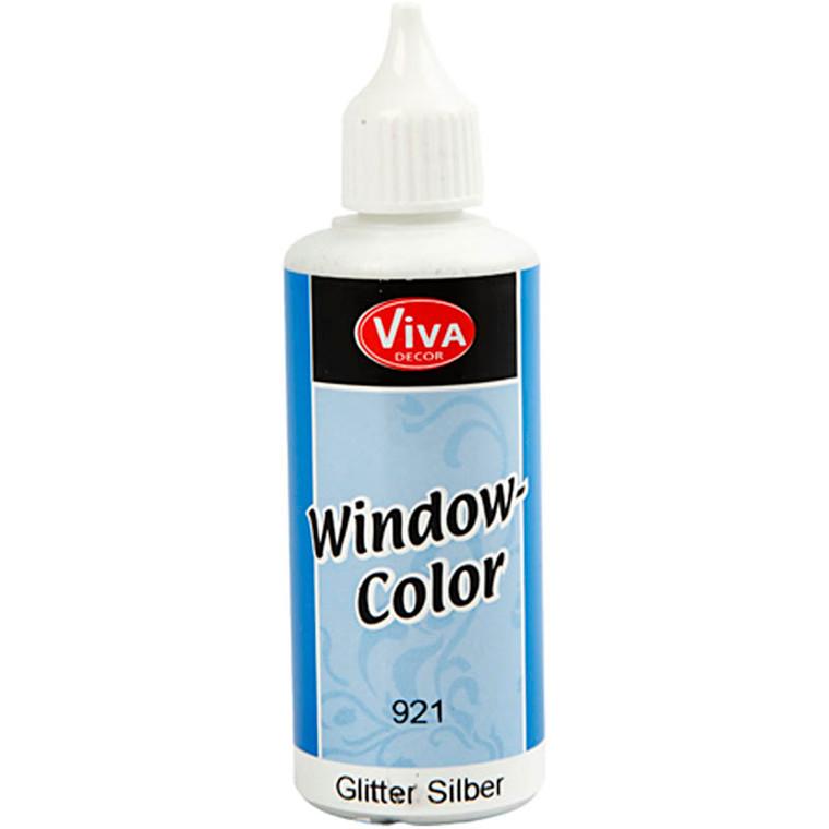 Viva Decor Window Color, sølv glitter, 80ml