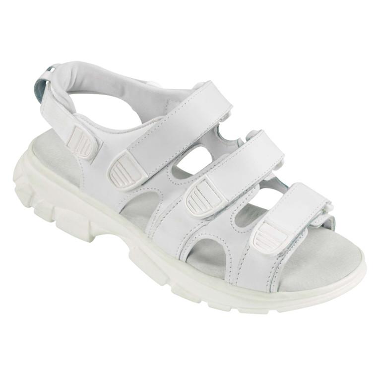 Walki sandal, med velcro og skindbindsål, hvid, str. 43,