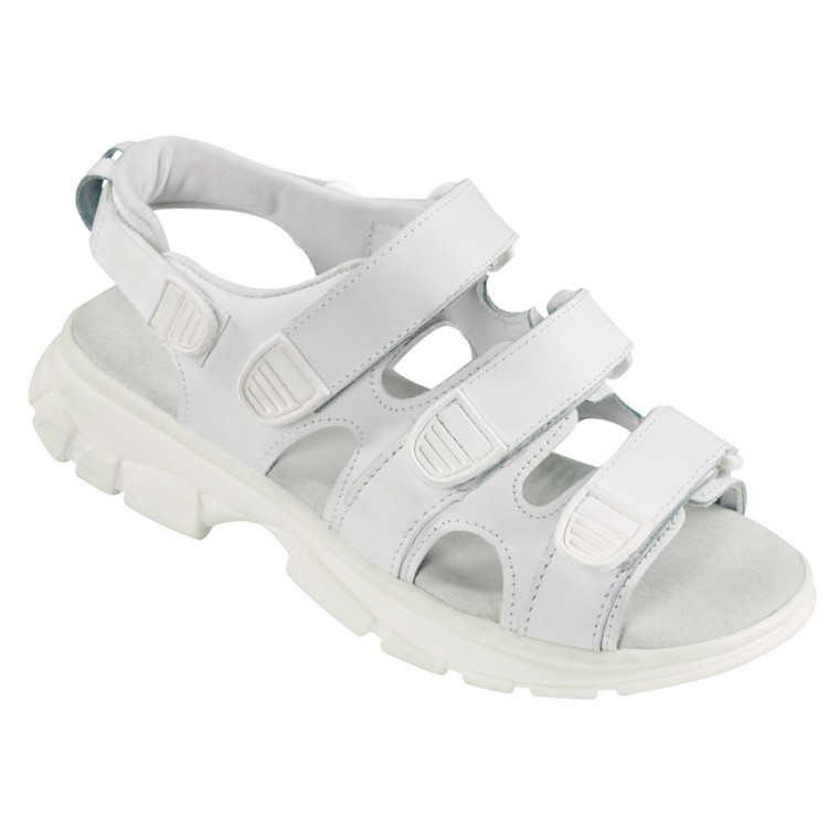 Walki sandal, med velcro og skindbindsål, hvid, str. 44,