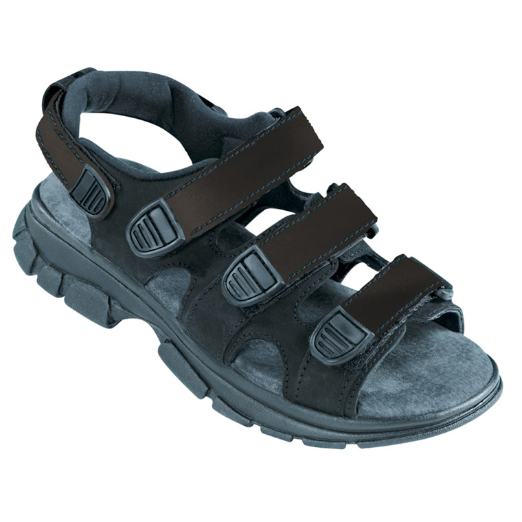 Walki sandal, med velcro og skindbindsål, sort, str. 38,
