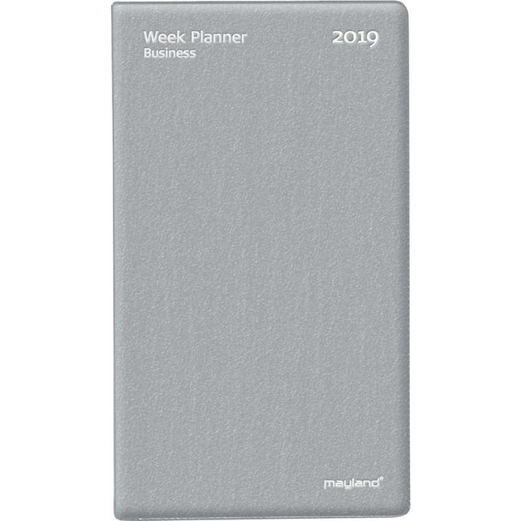 Week Planner Business 2019 uge vinyl sølv vendt format 9,5 x 17 cm - Mayland 19 0896 00