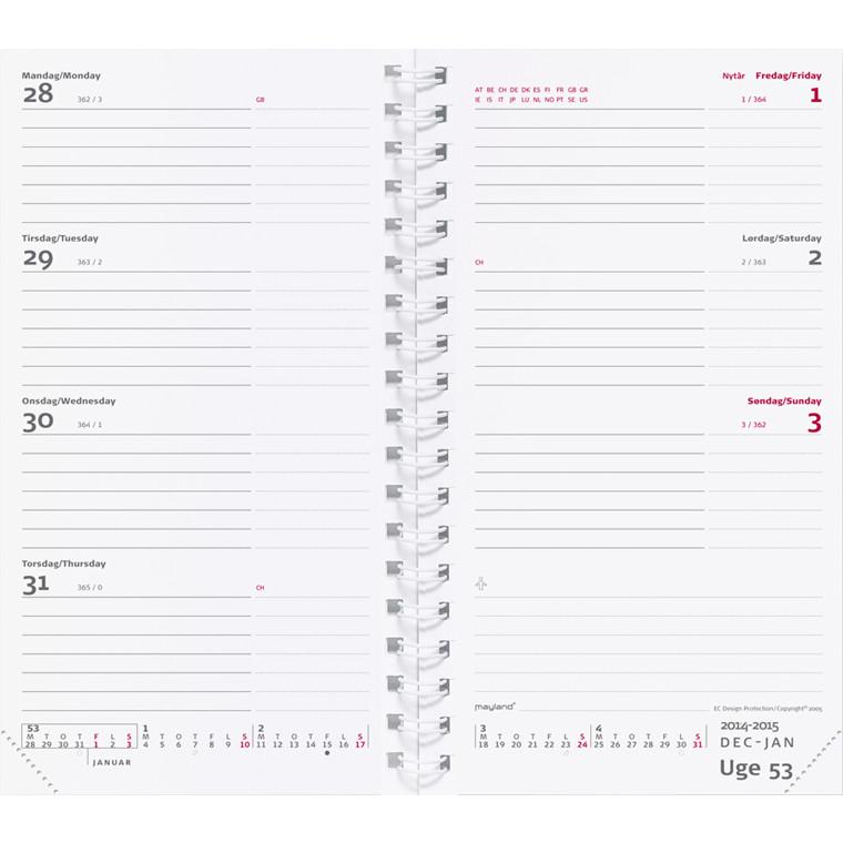 Weekplanner refill uge 9,5x17cm tværformat 20 0855 00
