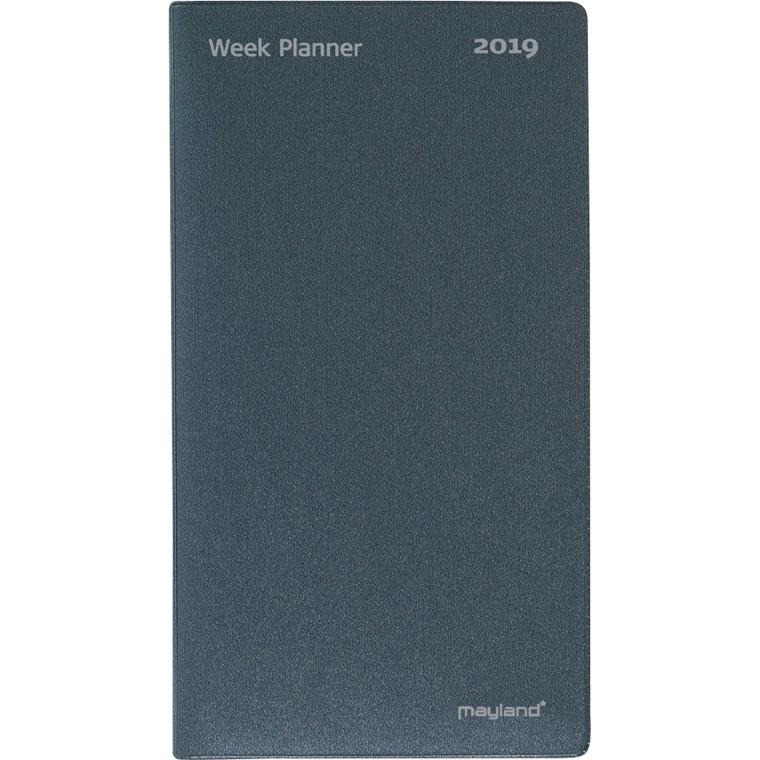 Week Planner Mayland 2019 uge højformat vinyl mørk grå 9,5 x 17 cm - 19 0880 00