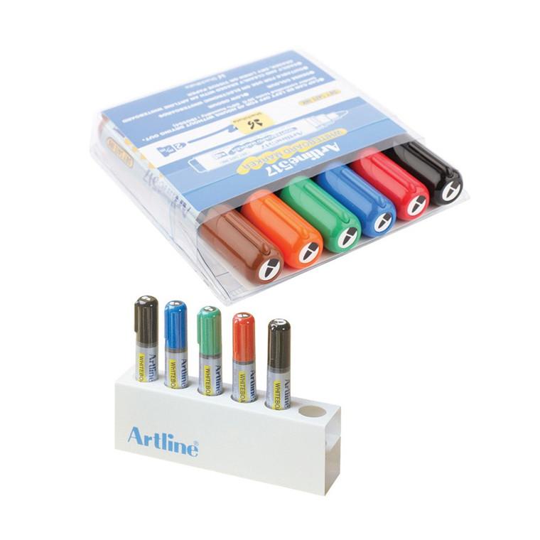 Whiteboard Marker Artline 517 6-sæt + holder