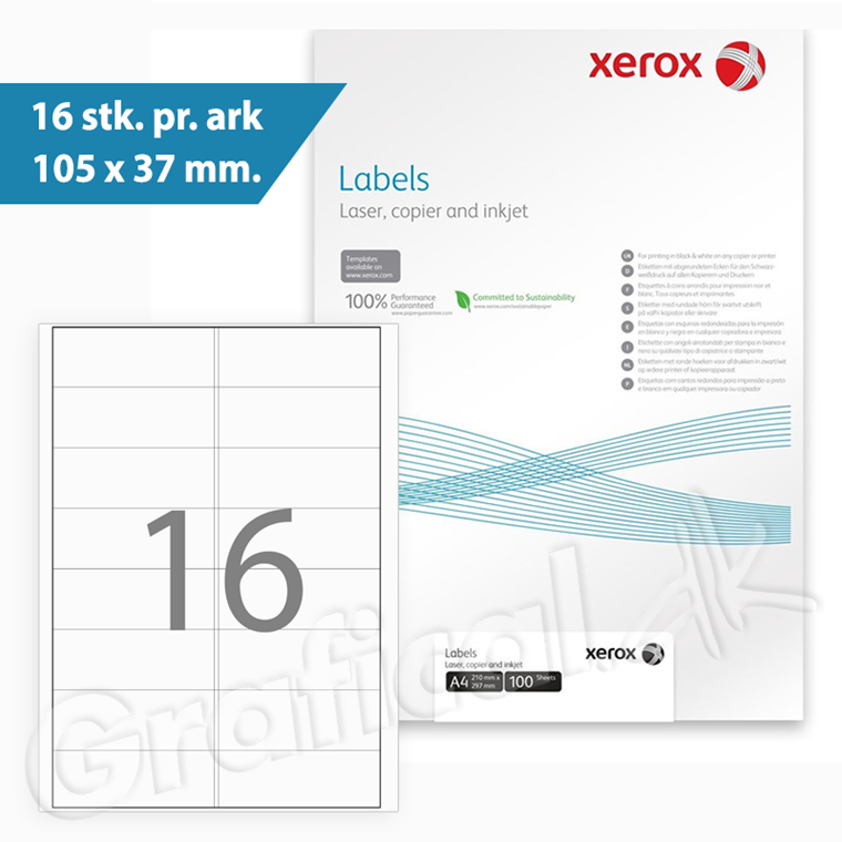 Xerox Labels -  16 pr. ark  105 x 37 mm 003R97407 - 100 ark