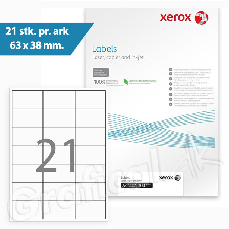 Xerox Labels - 21 pr. ark 63 x 38 mm 003R96298 - 100 ark