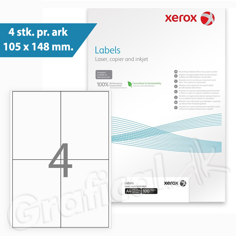 Xerox Labels - 4 pr. ark  105 x 148 mm 003R97402 - 100 ark