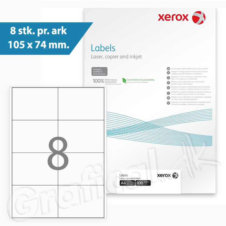 Xerox Labels - 8 pr. ark 105 x 74 mm 003R90024 - 100 ark