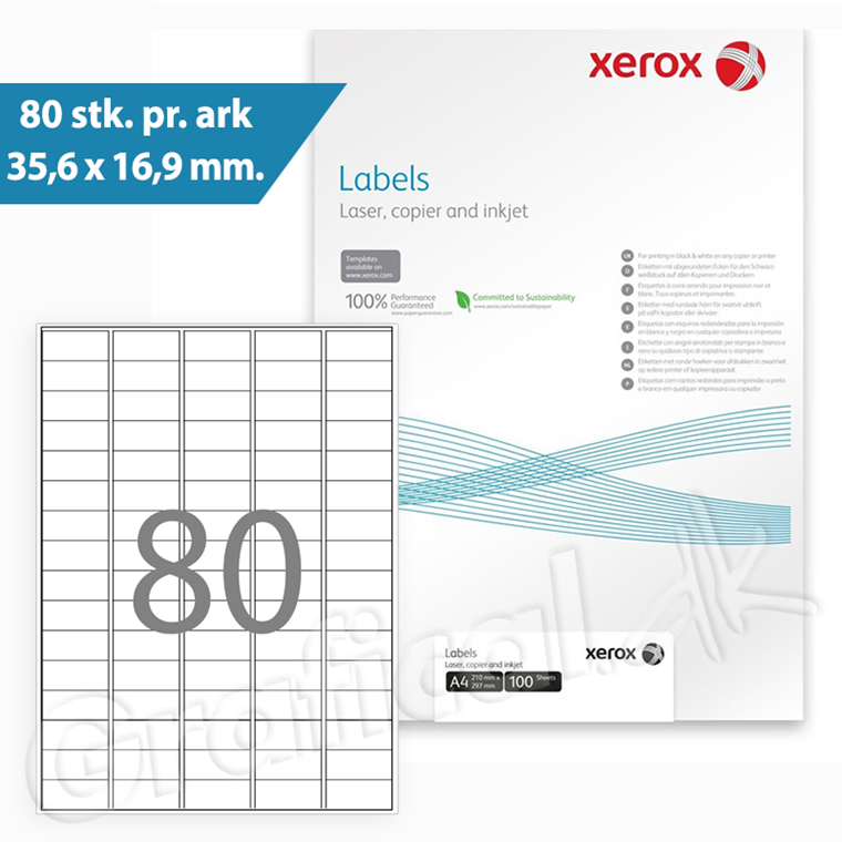 Xerox Labels - 80 pr. ark 35,6 x 16,9 mm 003R90020 - 100 ark