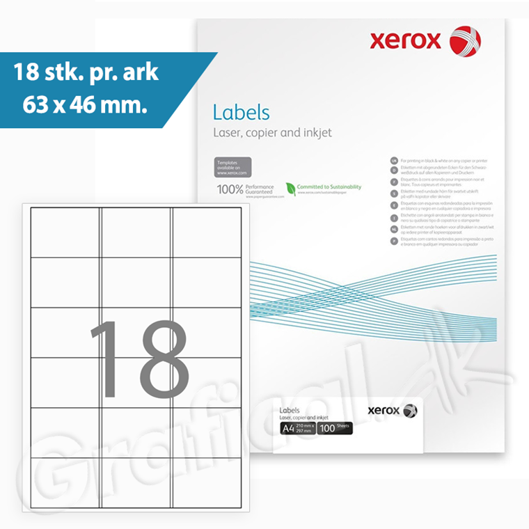 Xerox Multilabels - 18 pr. ark 63 x 46 mm 003R96297 - 100 ark