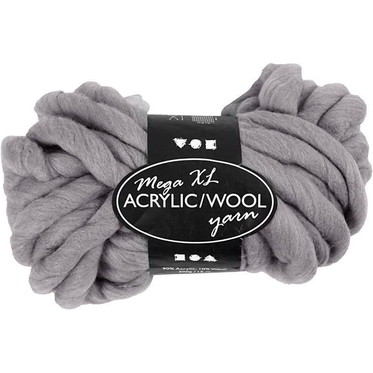 XL kæmpegarn af akryl/uld længde 15 meter grå mega - 300 gram