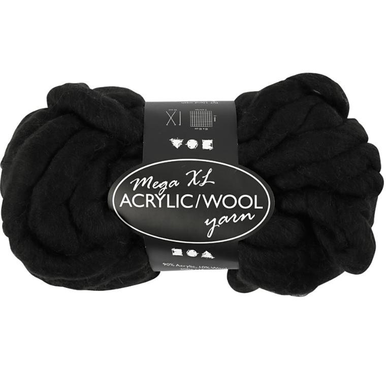 XL kæmpegarn af akryl/uld længde 15 meter sort mega - 300 gram