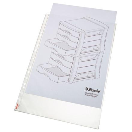A3 plastiklommer - Esselte 85 my præget med huller på lang side - 10 stk i pakke