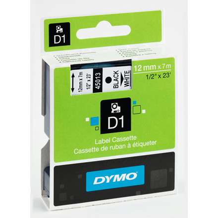 DYMO D1 45013 - Etiket tape 12 mm sort på hvid