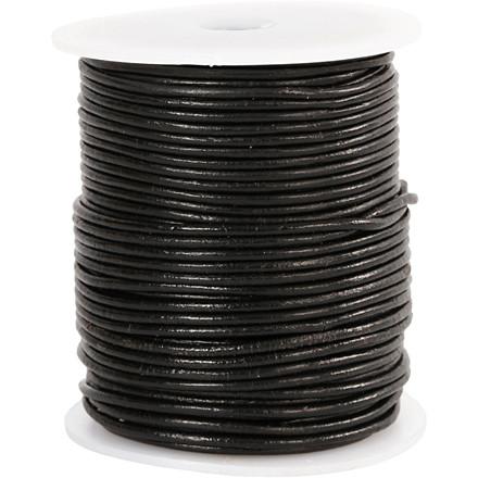 Lædersnor, tykkelse 2 mm, sort, 50m