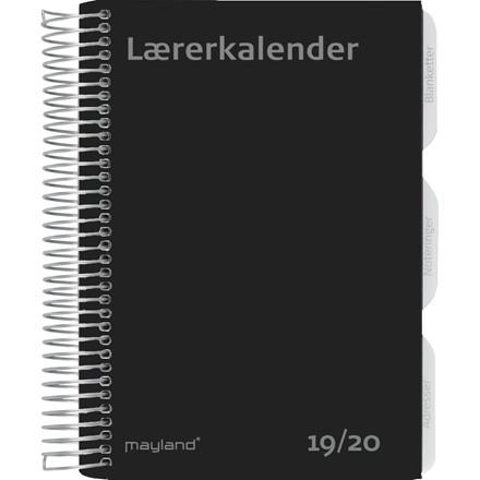 Lærerkalender 19/20 fiberpap sort A5 uge højformat 20 8130 00