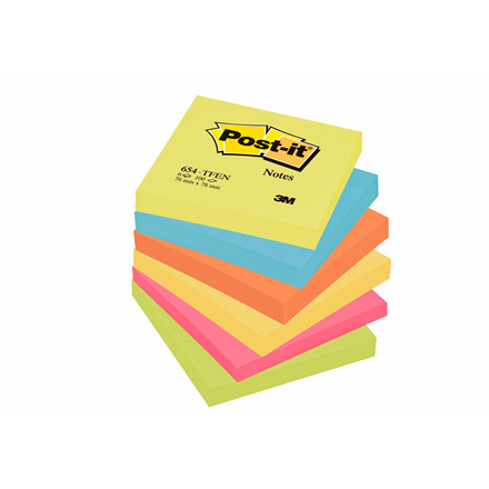 Post-it blokke notes neon farver 76 x 76 mm 654TFEN - 6 blokke
