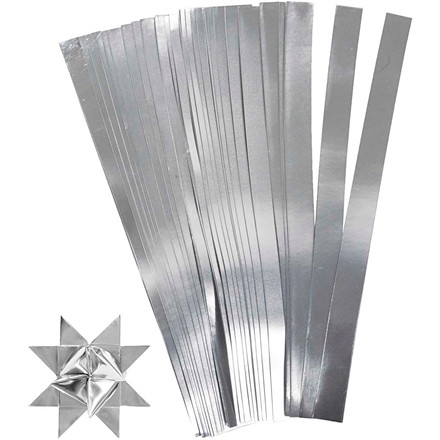 Stjernestrimler sølv Bredde 10 mm diameter 4,5 cm længde 45 cm - 100 stk