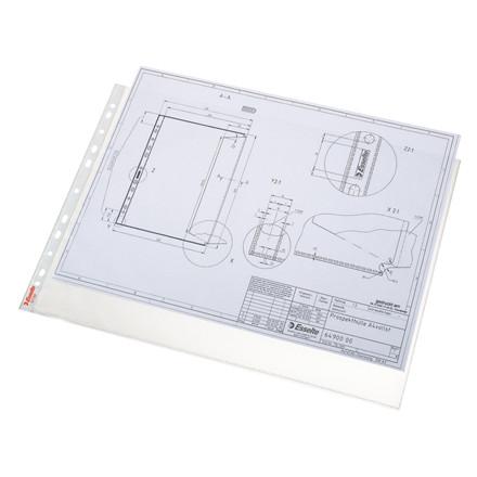 A3 plastiklommer - Esselte 85 my præget med huller på kort side - 50 stk i pakke