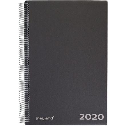 Aftalekalender Mayland 2020 A4 hård PP sort 21 x 30 cm 1 dag/side - 20 2200 00