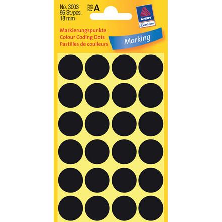 Avery 3003 - Manuelle etiketter sort Ø: 18 mm - 96 stk