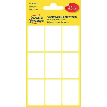Avery 3045 - Manuelle etiketter hvid 38 x 24 mm - 63 stk