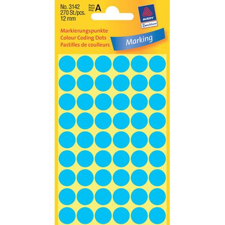 Avery 3142  - Manuelle etiketter blå Ø: 12 mm - 270 stk