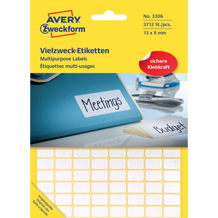 Avery 3306  - Manuelle etiketter hvid 13 x 8 mm - 3712 stk