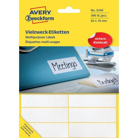 Avery 3340  - Manuelle etiketter hvid 62 x 19 mm - 392 stk
