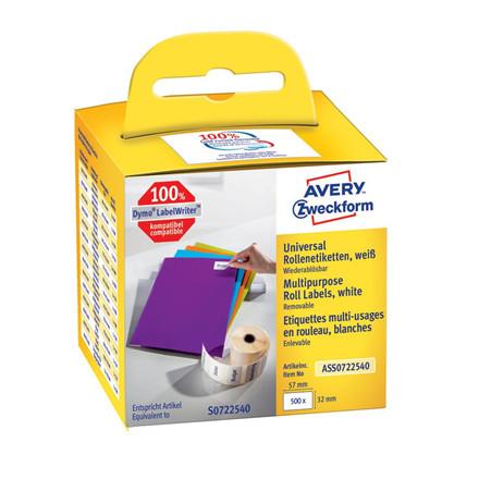 Avery ASS0722540 - Aftagelige universaletiketter 57 x 32 mm til Dymo LW  - 500 etiketter