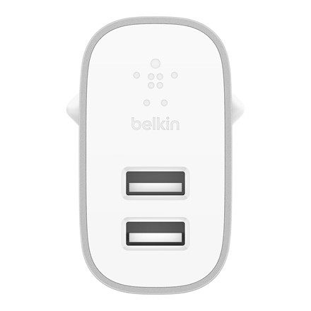 Belkin 4.8A Dual USB-A Home Charger + Lightning to A Cable, Silver