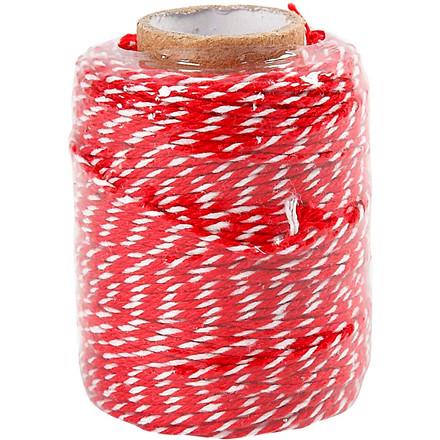 Bomuldssnor rød/hvid tykkelse 1,1 mm - 50 meter