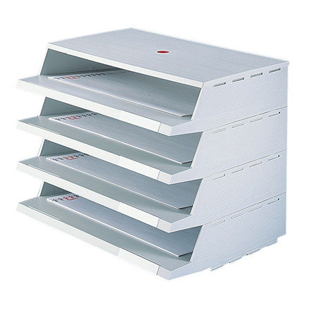 Twin Panorama brevbakkesystem A4 grå - 4 stk brevbakker i pakke