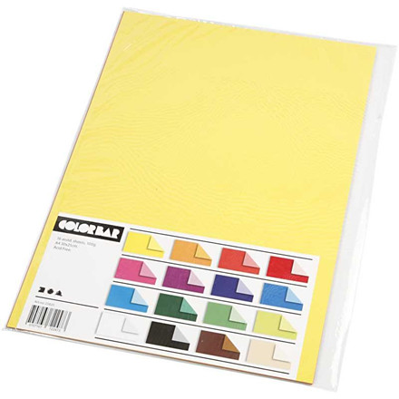 Color Bar rivepapir, A4 21x30 cm, 100 g, ensfarvet papir, 16ass. ark