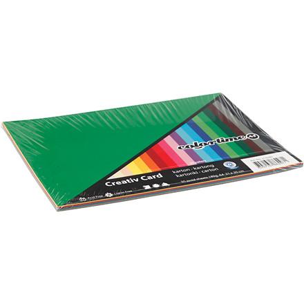 Creativ karton - A4 - 180 gram - Assorteret farver - 30 ark