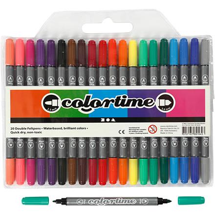 Dobbelt tusch - Colortime - 2,3 + 3,6 mm stregtykkelser - 20 stk.