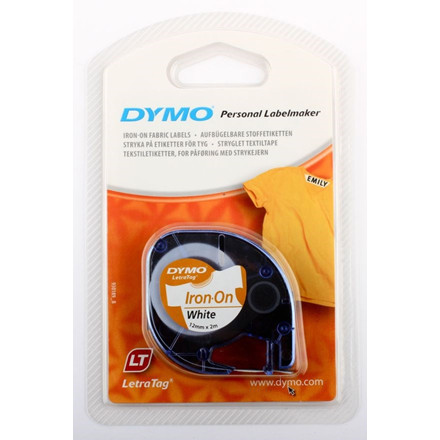 Dymo LetraTag Iron-on hvid - Stryg-på label 12 mm x 2 m
