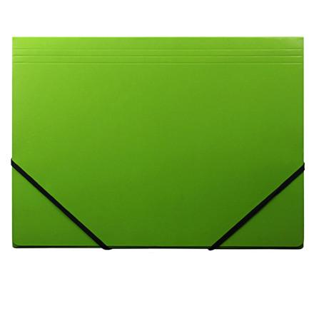 Elastikmapper - Q-Line A4 grøn blank karton med 3 klapper
