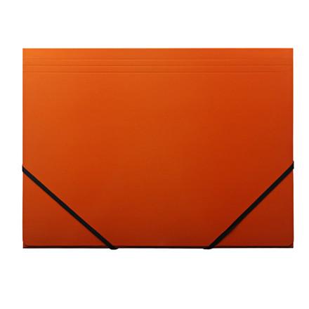 Elastikmapper - Q-Line A4 orange 400g karton med 3 klapper