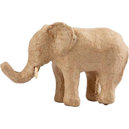 Elefant papmaché højde 9 cm   længde 13 cm