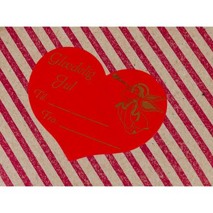 Etiket m/tryk Glædelig jul hjerteformet 52x42mm 1000stk/rul