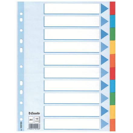 Faneblade 1-10 Esselte A4 - farvede kartonfaner og  blå karton forside