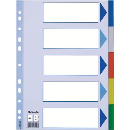 Faneblade 1-5 Esselte A4 - farvede plastfaner med kartonforblad