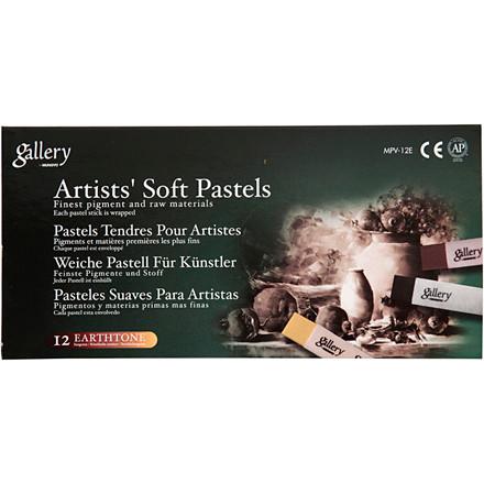 Gallery tørpastel, tykkelse 1 cm, L: 6,5 cm, brun, bruntone farver, 12ass.
